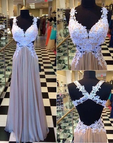XP71 Long formal sexy backless white lace prom dress,a line long sexylace evening dress