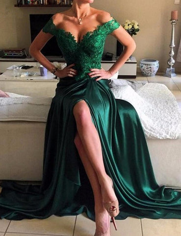 XP78  green short sleeve lace prom dress,long prom dress,side slit prom dress
