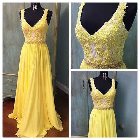 XP7 Sexy Elegant Long Chiffon V Neck Lace Yellow Prom Dress