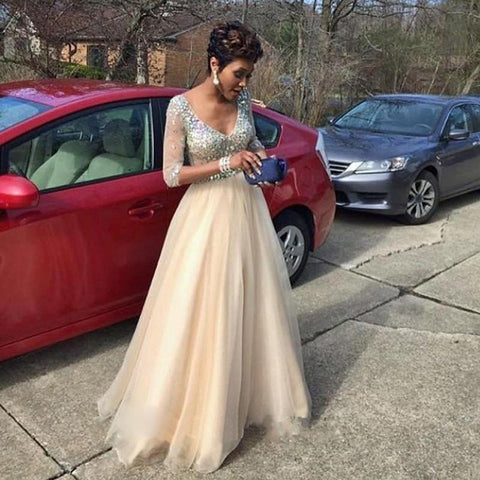 XP82 tulle prom dress,v-neck prom dress,charming prom dress,long sleeves prom dress