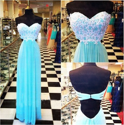 XP83 Tiffany blue backless lace prom dress, Tiffany blue prom dress