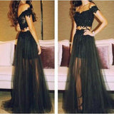XP84 long black two pieces short sleeves lace prom dress,tulle prom dress with applique