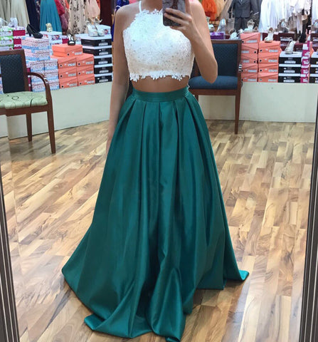 XP85 Dark Green Two Piece Lace Prom Dress, Prom Dresses 2017