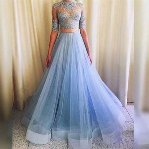 XP86 Light Blue Lace Two Pieces Long Prom Dress,Long Tulle Half Sleeves Lace Prom Dress