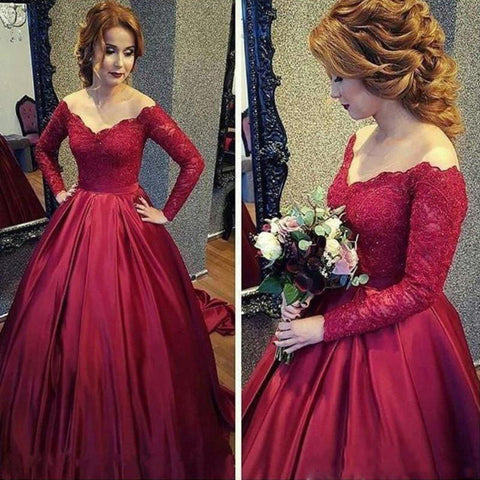 XP88 New Arrival Burgundy Satin Prom Dress,Red Ball Gown,Long Sleeves Formal Dresses