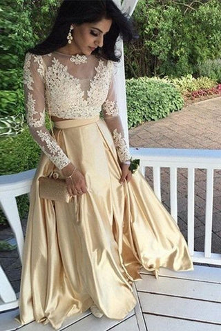 XP89 2017 Long Sleeves Two Piece Champagne Lace Prom Dress,Long Sleeve Prom Dress