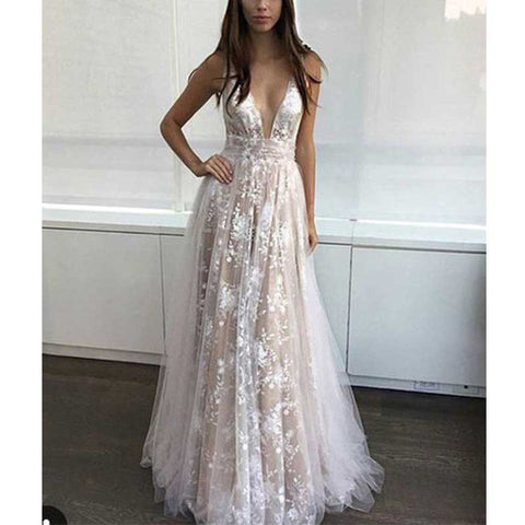 XP8 Formal Long Lace prom dresses 2017,Sexy v neck lace formal evening dress