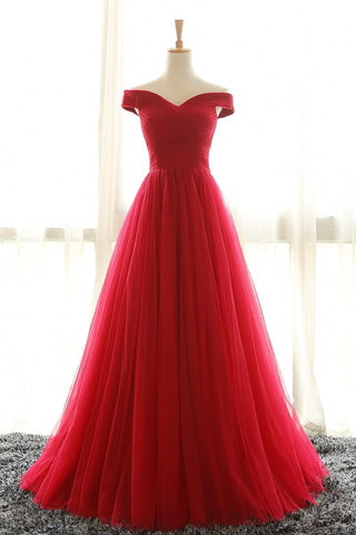 XP95 Full Length Off Shoulder Sleeves Red Bridesmaid Dresses,Tulle Prom Dress