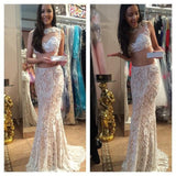 XP9 2017 Custom Made Halter Lace Beaded Two Pieces Prom Dress,See Through Mermaid Party Dress