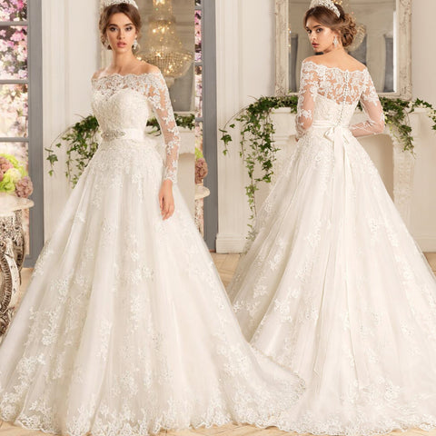 XW11 A Line Off the Shoulder White Long Sleeve Lace Wedding Dress 2017 Bridal Gown