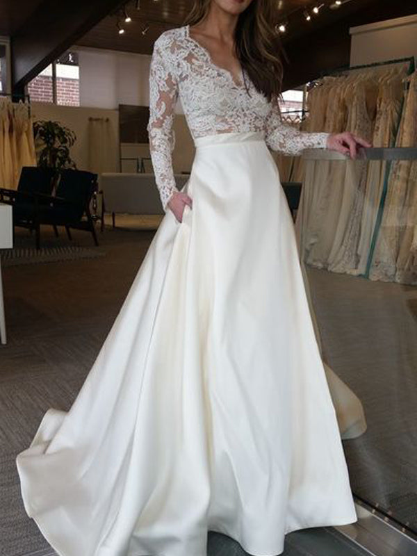 V Neck Long Sleeve Lace Applique Satin A Line Elegant Bridal Gowns Plus  Size Custom made