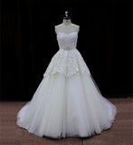 XW14 Tulle And Lace Illusion Neckline Ball Gown Wedding Dress With Chapel Train
