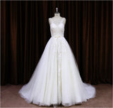 XW15 High Fashion Beaded Lace Appliques Wedding Dress With Sheer Shoulder