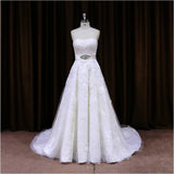 XW16 Real Vintage Tulle Beaded Strapless A Line Wedding Dress With Lace Appliques