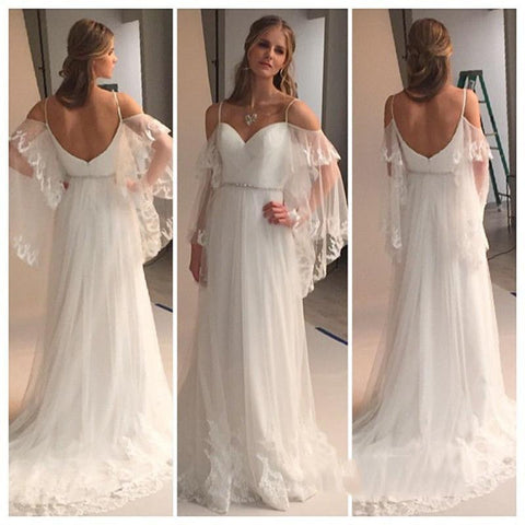 XW17 Summer Beach Wedding Dresse,A Line Tiers Tulle with Lace Bride Dress