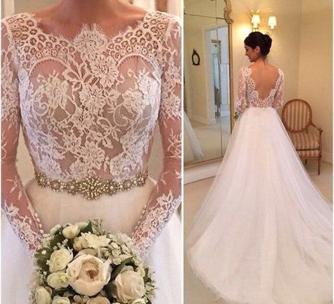 XW19 Long Sleeve Lace Tulle Wedding Dresses,Crew Neck Sheer Accents Crystals Beading Bridal Gowns