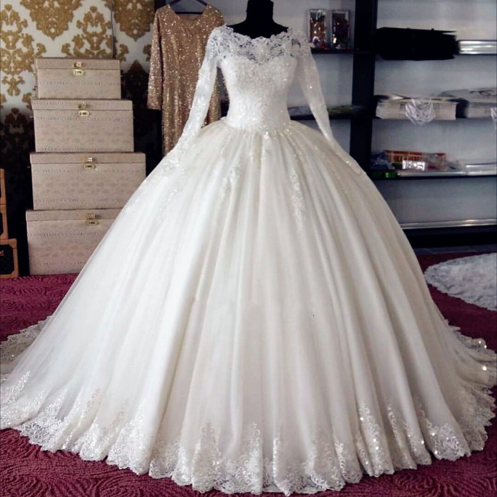 China Long Sleeves Wedding Dress Custom Made Lace Princess: XW20 Accents Crystals Beading Ball Gown Long Sleeve Lace