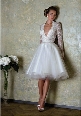 XW28 Short Wedding Dresses 2017 Long Lace Sleeves Wedding Dress