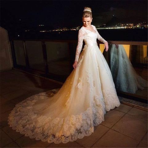 XW30 Beautiful A Line 2017 New Long Sleeve White Beaded Lace Tulle Wedding Dress Bride Gowns