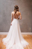 XW33 Straps Long White Tulle Wedding Dress,Simple elegant cheap beach wedding dress