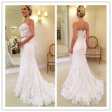 XW34 Lace Mermaid Wedding dress 2017,off the shoulder white Floor length Lace Up Bridal Gowns