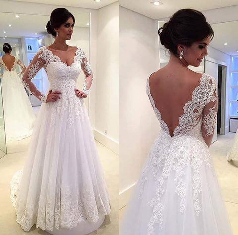 XW37 V Neck A Line Long Sleeve Lace Romantic Wedding Dress