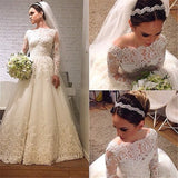 XW42 Long Sleeve Wedding Dress,Lace A Line Wedding Dress,Elegant Lace Long Sleeve Bridal Gown