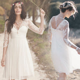 XW43 Knee length Long Sleeve V-neckline Vintage Lace Wedding Dress,Long Sleeve Bridal Gown