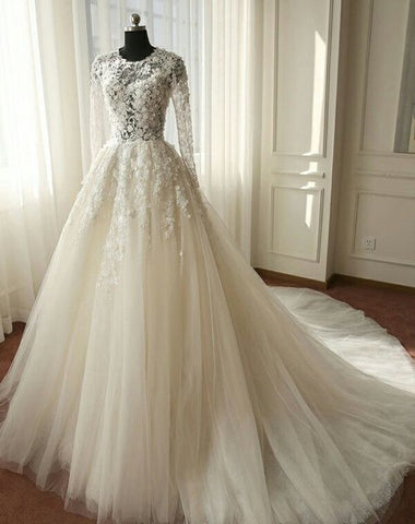 XW45 Beautiful Long Sleeves Wedding Dress, Ivory Tulle Lace Wedding Dress