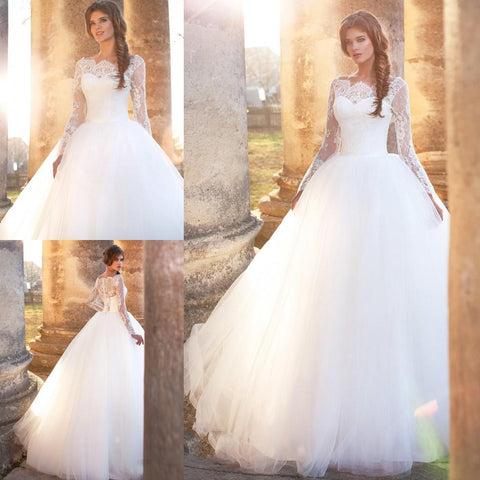 Romantic Puffy Ball Gown Wedding Dresses Lace Appliques Long Sleeve Chapel Bridal Gowns
