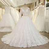 XW48 Ball Gown Princess Wedding Dress With Crystal Sash,Long Sleeves Lace Bridal Gowns