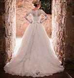 XW49 Elegant High Neck Muslim Lace Wedding Dress,China Arab A Line Custom Made Bride Dress,