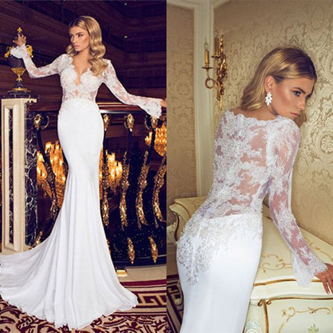 XW5 2017 Sexy sheer back long sleeve lace mermaid wedding dress,mermaid lace bridal gown