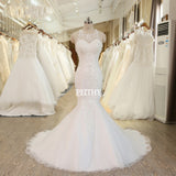 XW50 Sexy Open Back Lace Mermaid Wedding Dress Casamento Spaghetti Straps Robe De Mariage 2107