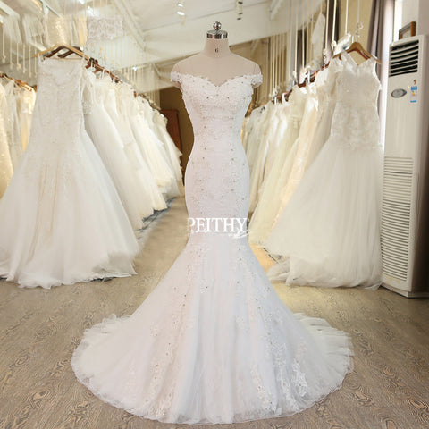 XW52 New Design Mermaid Wedding Dress ,Sexy Off The Shoulder Beaded Lace Bridal Dresses