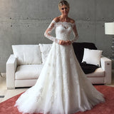XW53 See Though Back with Long Sleeves A Line Wedding Dress 2017,New Court Train Lace Bridal Gown