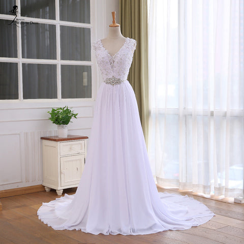 XW58 Lace Top Chiffon Wedding Dress 2017,Casamento Crystal Robe De Mariage Cheap Bridal Gowns