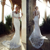 XW6 Sexy long sleeve lace mermaid wedding dress 2017,mermaid lace bridal gown