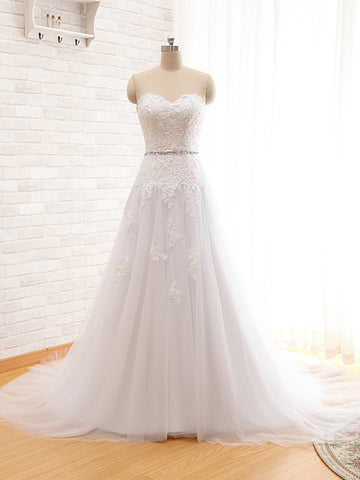 XW62 Simple Elegant A Line Lace Wedding Dress 2017,A Line Beading Sash Lace Bridal Gown