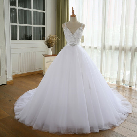 XW63 V Neck Vintage Wedding Dress With Belt,Vestido De Novia Casamento Beadings Bridal Gowns