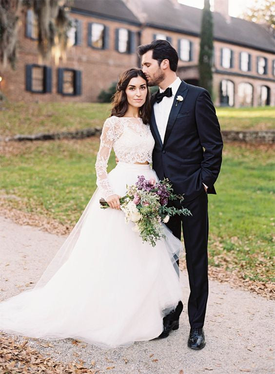 32c480d98f09 XW64 White Wedding Dresses,Long Sleeves Wedding Gown,Lace Wedding Gowns,Two  Piece