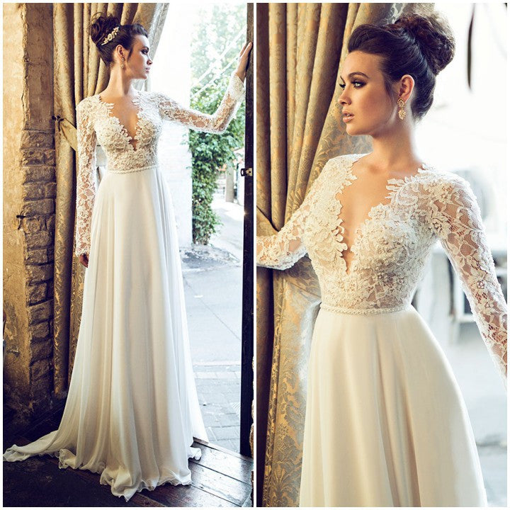 7a6841274079 XW7 A line deep v neck long sleeve lace elegant wedding dress,long sleeve  lace