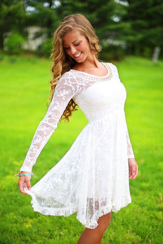 XW70 Long Sleeve Wedding Dress, Short Wedding Dress,Short Lace Bridal Dress