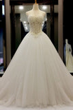 XW74 White organza sweetheart beading pearl A-line long ball gown wedding dresses,wedding dresses