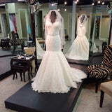 Deep V Neck Mermaid Lace Open Back Wedding Gowns with Beading Sash