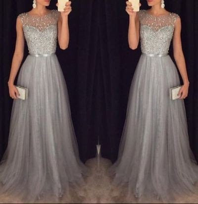 X‬P80 gray beading prom dress,long prom dress,formal prom dress
