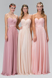 a line long chiffon pleated simple pink bridesmaids dress,pink wedding party dress