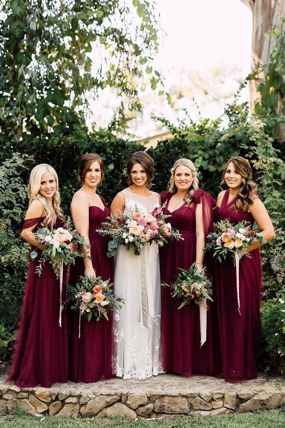 6707975ff12 a line tulle red wine bridesmaid dresses