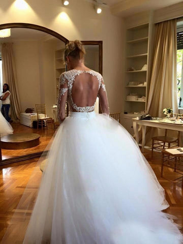 Lace Ball Gown Long Sleeve Back Key Hole Wedding Dresses with Removable Skirt