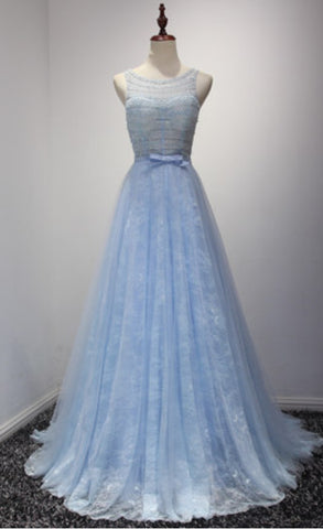 xp154 Lace Prom Dresses,Blue Prom Dress,Modest Prom Gown,Light Blue Prom Gown